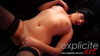 French brunette solo with a toy