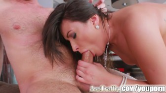 Asstraffic brunette is bent over and fucked in the ass