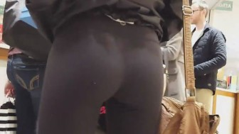 Hottest ass ever in black tights brought by a real voyeur