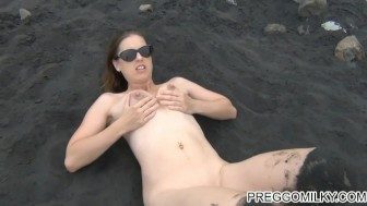 shooting breastmilk on the beach lactation fun with milf Full video and many more on my site PreggoMilky.com