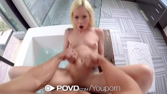 povd – elsa jean s holes filled in a bath for two pov style