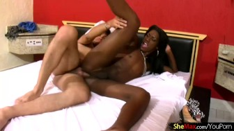 Full figured black T-girl fondles her long shecock