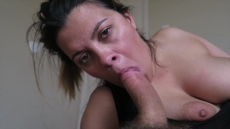 Michelle gags on a huge cock!