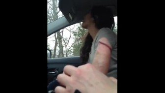 Hot girl gives head in the car and swallows cum