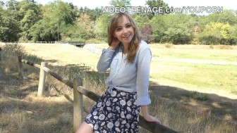 shy teen does her first porn casting