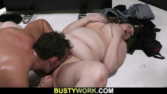 Plump bitch spreads her legs for him