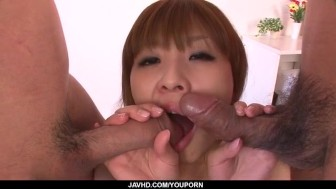 Rinka Aiuchi blows and fucks in dirty threesome