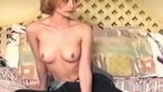 Vintage babe masturbates before cocksucking