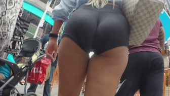 Street voyeur follows amazing blonde s ass