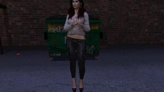 Une jolie brunette virtuelle en pleine nuit