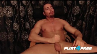 Toned Muscular Hunk Jerks His Big Beautiful Uncut Cock