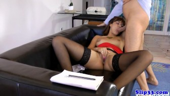 Highheeled spanish beauty pounded on couch