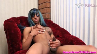 Lactating nubian tgirl jerks her bbc and cums