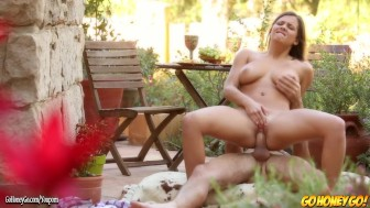 Keisha Grey gags on cock then rides it
