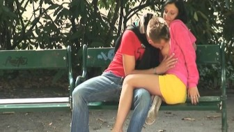 Horny couple get naughty in the public places.mp4