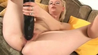 Blonde with huge brutal dildo