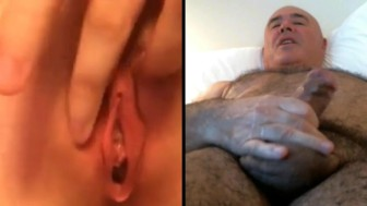 Man wanks watching pussy