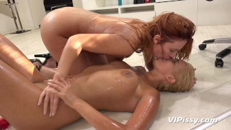 Hot blonde enjoys lesbian piss play with her maidi