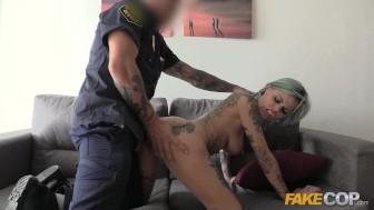 Fake Cop Rock chick fucks uniformed policeman