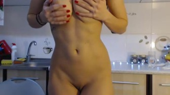 Big titty girl masturbating in the ktichen for some nasty