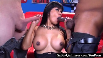 Full Service Latina Maid Gabby Quinteros Pleases 2 Cocks!