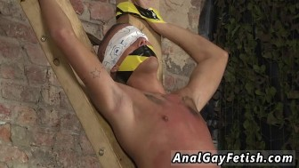 Gay bondage rope Blindfolded, gagged, d and flogged, the guy is finally