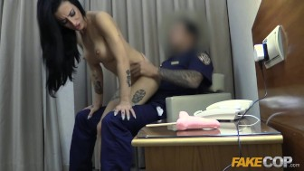Fake Cop Hotel whore fucks hung security guard