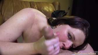 Girl in amateur casting gives a blowjob POV and swallows