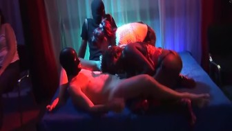 black and white in real gangbang party