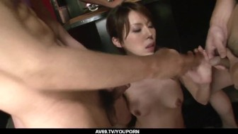 Rino Asuka plays naughty with a group of horny men