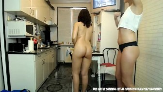 Lesbian teens bored in the kitchen...