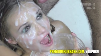 Beautiful blonde mouthful of cum facialized and swallows