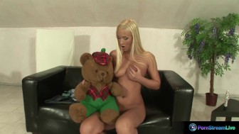Misty Mild shows off her body and plays with a dildo
