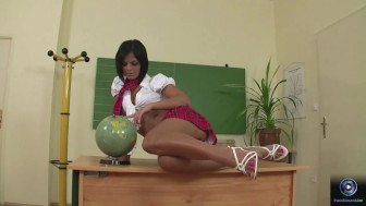 Hottie Black Angelika masturbates in after school detention