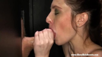 Skinny Amateur slut gets talked into sucking at gloryhole
