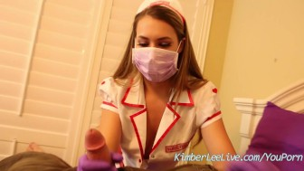 Nurse Kimber Lee Gives Handjob in her Purple Latex Gloves!