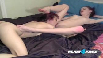 Girl on Girl Lesbians Wrestle & Eat Pussy