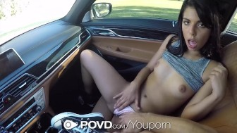 POVD Gina Valentina fingers her ass when fucked in pov