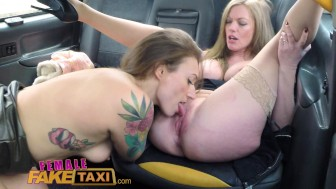 Female Fake Taxi Big tits barmaid gets lesbian tribbing and masturbation