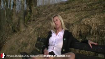 MILF Marina Montana draussen abgepisst