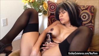 Horny Latina Gabby Quinteros Finger Fucks Her Wet Pussy!