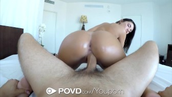 POVD Busty August Ames wet pussy fucked after bath masturbation