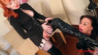 British MILF spanks and fucks her naughty tattooed slave girl