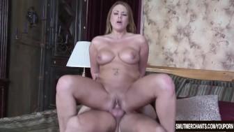 Porn girl bounces on cock
