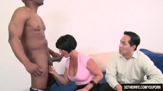 Brunette wife takes large black cock