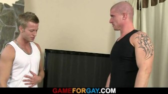 Blond gay's trainer gets face and ass fucked