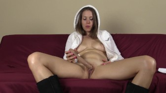Sucking and fucking my dildo in just my furry hoodie and Uggs