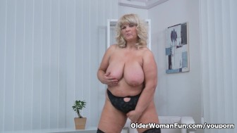 BBW milf Renatte rubs her big tits and hungry pussy
