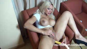 Hung Tranny Azeneth with her dildo