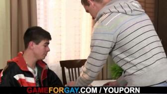 Hetero honey seduced into gay blowjob and riding